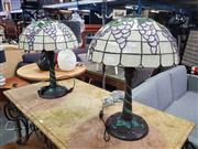 Sale 8669 - Lot 1027 - Pair of Leadlight Shade Table Lamps