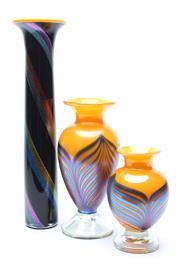 Sale 8725 - Lot 78 - 3 Mid Century Art Glass Vases (Max Height:35cm)
