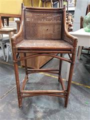 Sale 8934 - Lot 1057 - Set of Four Timber Bar Stools with Rattan Back & Seat
