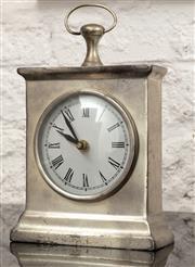 Sale 9066H - Lot 70 - A decorative chrome effect mantel clock. H 18cm