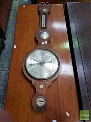 Sale 8485 - Lot 1025 - Early 19th Century Rosewood Banjo Barometer, with alcohol thermometer, brass & bone mounts