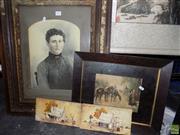 Sale 8557 - Lot 2095 - Portrait on Glass a/f & Print Plus 2 J.E. Vezgoff Painted Tiles