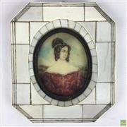 Sale 8649R - Lot 56 - Ivory Framed Miniature (H: 14.5)