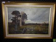 Sale 8622 - Lot 2048 - Artist Unknown - Country Scene with Cattle Grazing 1911, oil on canvas (AF),29 x 44.5cmm, signed J. Taylor