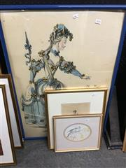 Sale 8674 - Lot 2070 - 3 Works: MH - Courting Birds, watercolour, SLL; Framed Print Galerie Theatrale & Framed Print The Magic of the Paris Opera