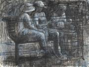 Sale 8813 - Lot 599 - Judy Lane - Three Figures on a Bench 91.5 x 122cm