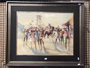 Sale 8819 - Lot 2025 - Bette Hays - Country Races oil on board, 67 x 82cm, signed