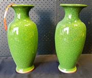 Sale 9026 - Lot 1096 - Pair Of Green Crackle Glazed Vases (h:34cm)