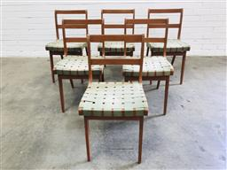 Sale 9117 - Lot 1039 - Set of 6 webbed dining chairs by Douglas Snelling (h:80 x w:43 x d:45cm)