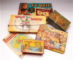 Sale 9131 - Lot 57 - Collection of vintage board games inc snakes and ladders and others