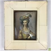 Sale 8649R - Lot 57 - Zylonite Framed Miniature (H: 15.5cm)