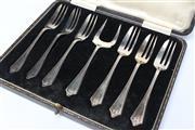 Sale 8710 - Lot 86 - Sterling Silver Boxed Cake Forks & Serving Forks,