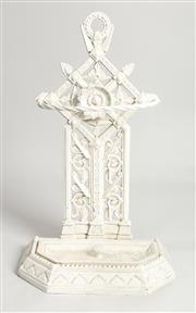 Sale 8770 - Lot 99 - A Coalbrookdale style white painted cast iron umbrella stand attributed to Dr Christopher Dresser, English 19th Century, H x 76cm