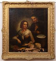 Sale 8804A - Lot 111 - A C19th couple at a table, oil on canvas, not signed, strong losses in a gilt gesso frame image size 61cm x 53cm