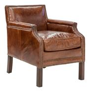 Sale 8957T - Lot 8 - A pair of Cigar Parlour Chair in Aged Leather with Brass Stud Detailing W64 x D78 x H77