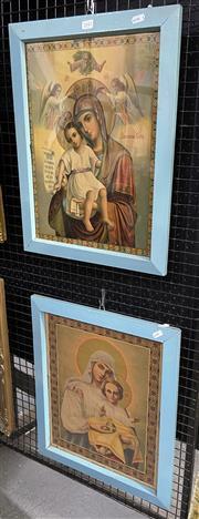 Sale 9011 - Lot 2043 - 2 Russian Prints of Virgin & Child
