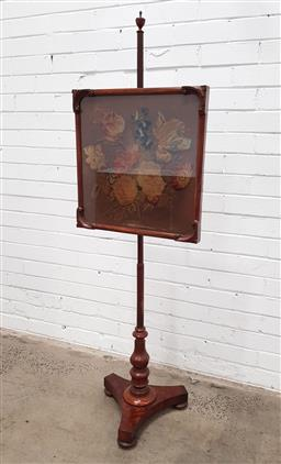 Sale 9097 - Lot 1055 - Victorian Mahogany Pole Screen, with floral stump work, turned pedestal & triform base (h152 x w49cm)