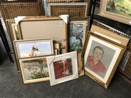 Sale 9147 - Lot 2090 - A group of 12 assorted paintings, works on paper and decorative prints. -
