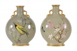 Sale 9245J - Lot 34 - A fine pair of Mintons art pottery studio two handled moon vases, with hand painted bird decoration and gilt highlights, H 21cm x W ...