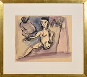 Sale 8339A - Lot 543 - Charles Blackman (1928 - ) - Nude Study 29.5 x 36cm