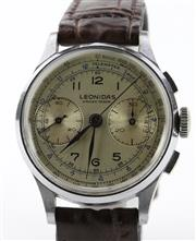 Sale 8655J - Lot 51 - A VINTAGE LEONIDAS SWISS CHRONOGRAPH WRISTWATCH; matte dial, 2 registers, tachymeter, telemeter track, 17 jewell movement, stainless...