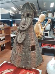 Sale 8676 - Lot 1362 - PNG Sepik River Woven Twin Mask Statue ( H 113cm W Base 75cm)
