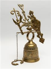 Sale 8783 - Lot 76 - An embossed brass bell with latin qui me tangit, vocem meam audit French 19th Century, total height 42cm