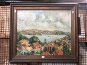 Sale 8824 - Lot 2043 - Artist Unknown - Overlooking a Sydney Suburb oil on board, signed and dated lower right
