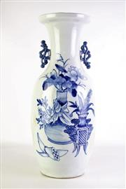 Sale 8869C - Lot 636 - A Large Blue and White Twin Handle Vase (H 58cm)