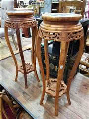 Sale 8912 - Lot 1028 - Pair of Marble Top Jardiniere Stands