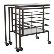 Sale 8957T - Lot 61 - A drinks trolley in Gunmetal. Fold it in for easy storage or extend it out for service. Can fold into an l-shape for corners. A perf...