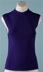 Sale 9090F - Lot 74 - A BOSS SLEEVELESS PURPLE KNIT CREW NECK TOP, new with tags, style Fasmine, size Tall,