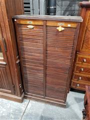 Sale 9048 - Lot 1040 - Early 20th Century Walnut & Oak Office Cabinet, with two tambour shutters, enclosing shelves