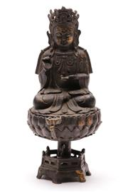 Sale 9070 - Lot 82 - A Bronze Buddha Figure on Raised Lotus Base (H 24cm)
