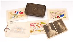 Sale 9078 - Lot 47 - Princess Mary 1914 Sweets tin (W13cm) together with early Christmas postcards