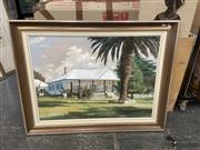 Sale 9087 - Lot 2052 - Peter J Hill Residential Scene oil on canvas 85  x 110cm, signed lower left