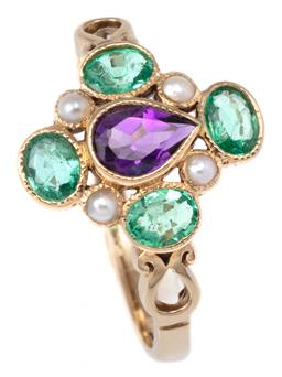 Sale 9124 - Lot 368 - A 9CT GOLD SUFFRAGETTE INSPIRED GEM SET RING; quatrefoil cluster centring a pear cut amethyst surrounded by 4 oval cut emeralds and...