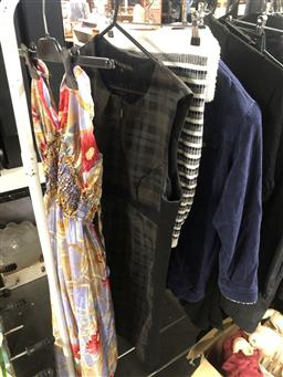 Sale 9139 - Lot 2099 - Assortment of womens fashion and work clothing incl. a jumpsuit, Cue dress, jeans, work slacks, skirt, corduroy jacket etc. (S12-14...
