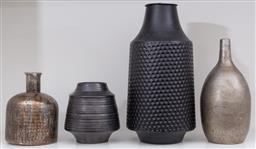 Sale 9150H - Lot 45 - A collection of decorative vases in metallic and black tones, Height of tallest 34cm