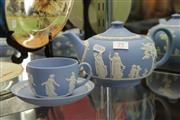 Sale 8322 - Lot 79 - Wedgwood Jasper Ware Teapot with a Cup & Saucer