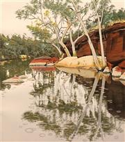 Sale 8652 - Lot 581 - David Rose (1936 - 2006) - Rain at Ellery Creek, Central Australia, 1989 64 x 56cm