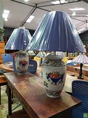 Sale 8629 - Lot 1058 - Pair of French Style Table Lamps with Fruit Basket Motifs in Blue & White (4005)