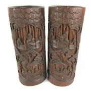 Sale 8795K - Lot 275 - A pair of bamboo carved brush pots