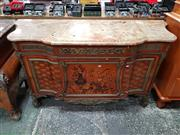 Sale 8814 - Lot 1016 - Good Louis XVI Style Marquetry Commode, with marble top & two long drawers with central floral motif & geometric panels to the sides...