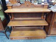 Sale 8917 - Lot 1003 - Victorian Carved Oak Dumbwaiter, of three graduated tiers on bracket supports, the base with two drawers (missing legs)