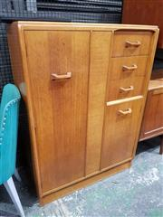 Sale 8930 - Lot 1039 - G-Plan Brandon Teak Wardrobe Compactum with Mirror Drawer