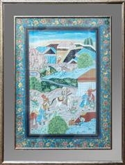Sale 8990H - Lot 39 - Mughal School, Processional Scene, Watercolour, In a mirrored frame (image size 78cm x 50cm) Outer frame size 125cm x 95cm
