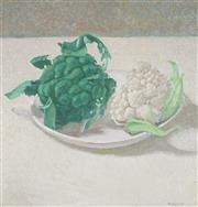 Sale 9047 - Lot 597 - Francis Giacco (1955 - ) - Cauliflower & Broccoli 34 x 33 cm (frame: 54 x 57 x 3 cm)