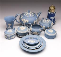 Sale 9107 - Lot 3 - Large collection of Wedgwood jasperware inc teapot, dishes and cannisters