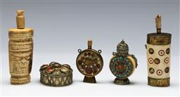 Sale 9156 - Lot 94 - A group of snuff bottles inc bone examples (H 11cm) together with A bejewelled box